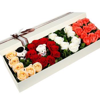 公仔礼盒鲜花:浪漫满屋
