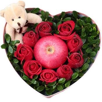 公仔花盒鲜花:我的小苹果